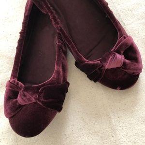 Bandolino Wine Colored Velvet Ballet Flats 7.5